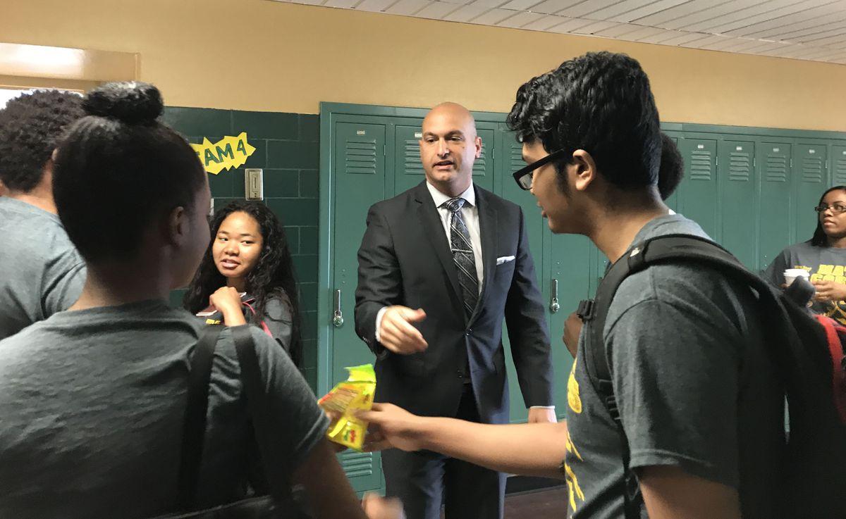 Detroit schools Superintendent Nikolai Vitti greets students participating in a summer math program at Wayne State University.