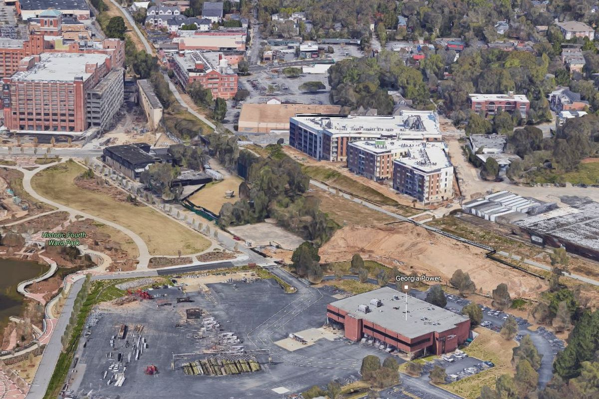 An aerial view of the Eastline site looking north, with Historic Fourth Ward Park, the Masquerade, Ponce City Market, the Beltline, and the 725 Ponce site.