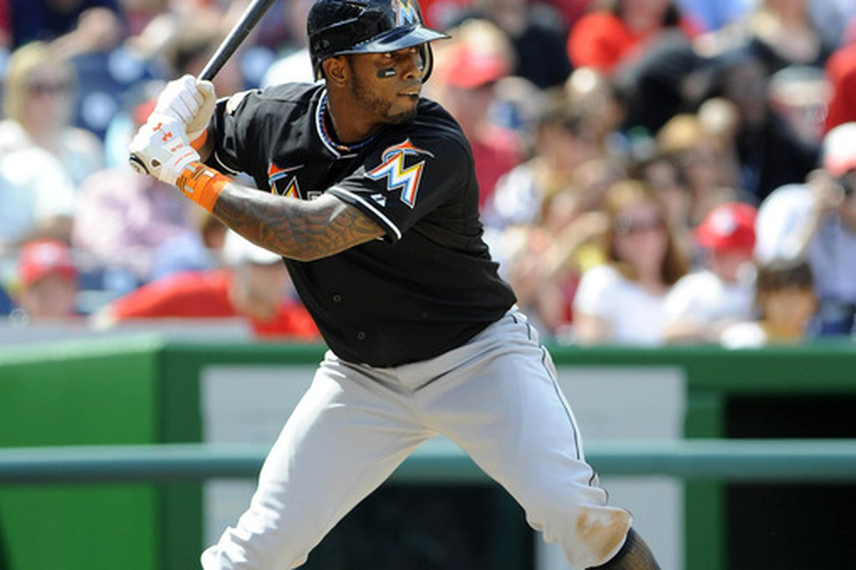 Apr 21, 2012; Washington, DC, USA; Miami Marlins shortstop Jose Reyes (7) bats during the games agains the Washington Nationals at Nationals Park. The Nationals won 3 - 2. in 10 innings. Mandatory Credit: Brad Mills-US PRESSWIRE
