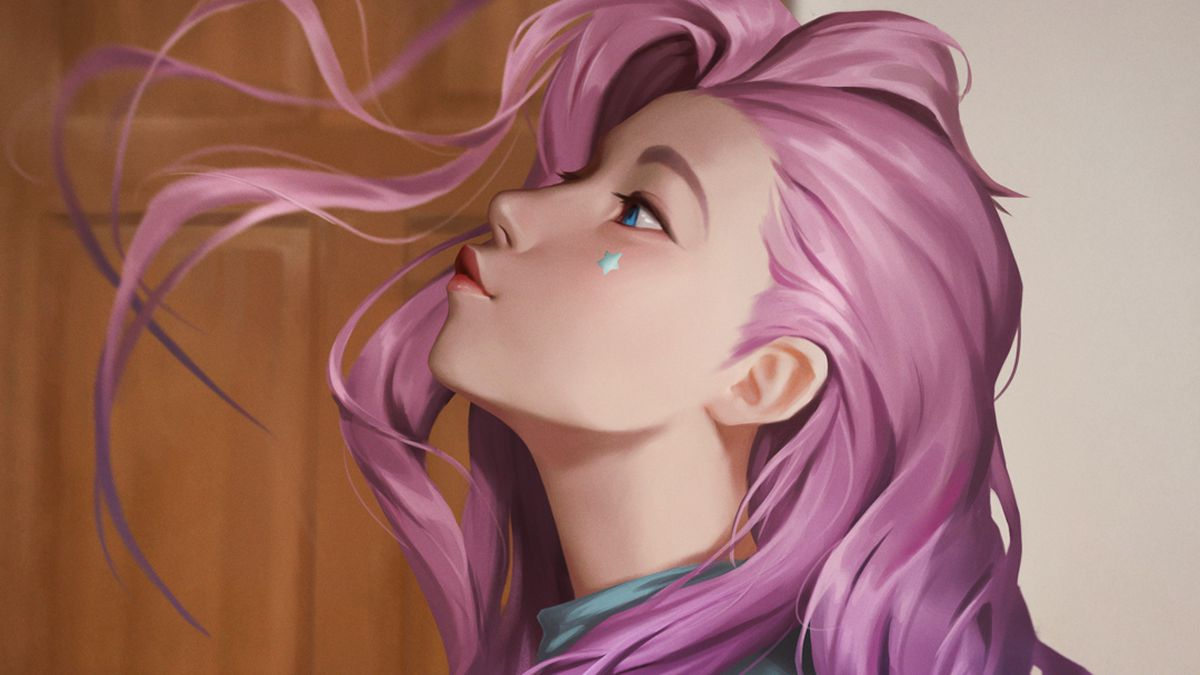Seraphine, a girl drawn in real-world settings, blows her pink hair off of her face