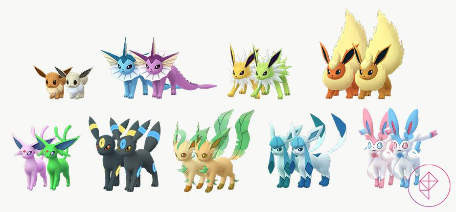 A comparison between Shiny Eevee and its evolutions to its normal forms. Shiny Eevee is silver, Shiny Vaporeon is purple, Shiny Jolteon is green, Shiny Flareon is brown, Shiny Espeon is neon green, Shiny Umbreon has blue accents, Shiny Leafeon is darker, Shiny Glaceon is lighter, and Shiny Sylveon is blue.