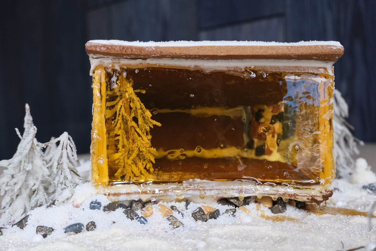 Window made from caramelized sugar.