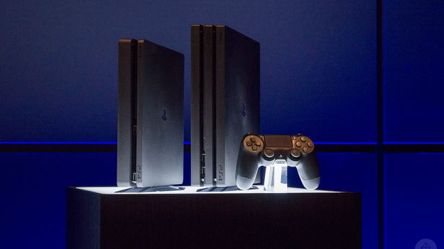 """The """"slim"""" PlayStation 4 next to the PS4 Pro and the DualShock 4 controller."""