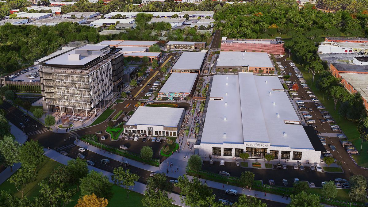 An aerial rendering of the project.