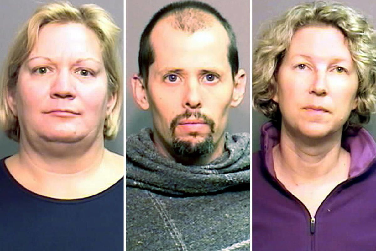 This photo provided by the Boone County, Mo., Sheriff's Department shows, from left: Susan Van Note; Desre Dory and Stacey Dory. Susan Van Note is facing charges of felony forgery and first-degree murder and the Dorys with felony forgery and second-degree
