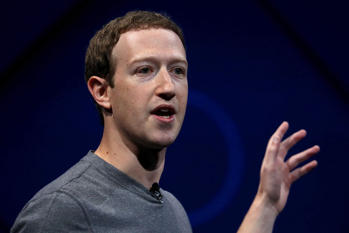 Facebook CEO Mark Zuckerberg delivers the keynote address onstage at Facebook's F8 Conference.