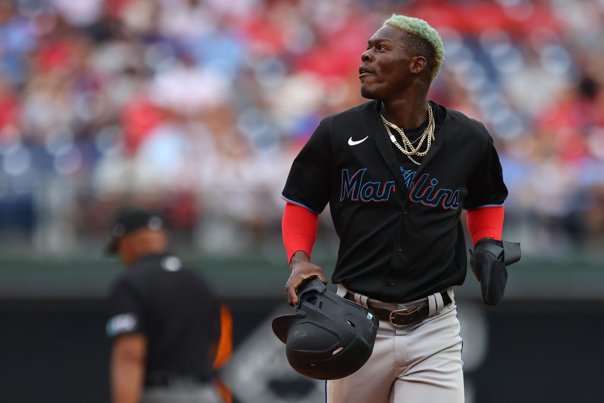 Jazz Chisholm Jr. #2 of the Miami Marlins in action against the Philadelphia Phillies during the ninth inning of a game at Citizens Bank Park