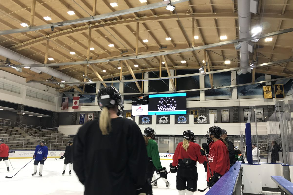 Buffalo Beauts bag Worcester Blades backstop