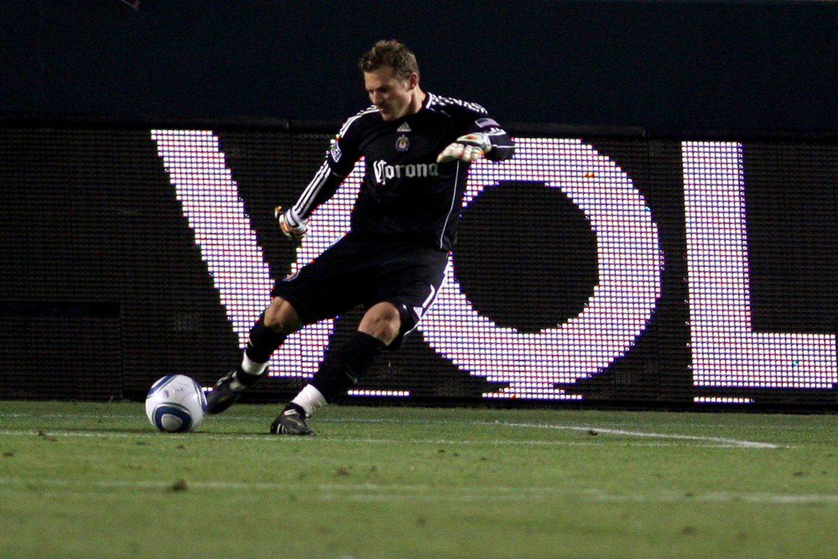 CARSON, CA - JULY 02:  Dan Kennedy #1 of Chivas USA kicks the ball against the Chicago Fire at The Home Depot Center on July 2, 2011 in Carson California.  (Photo by Jeff Golden/Getty Images)