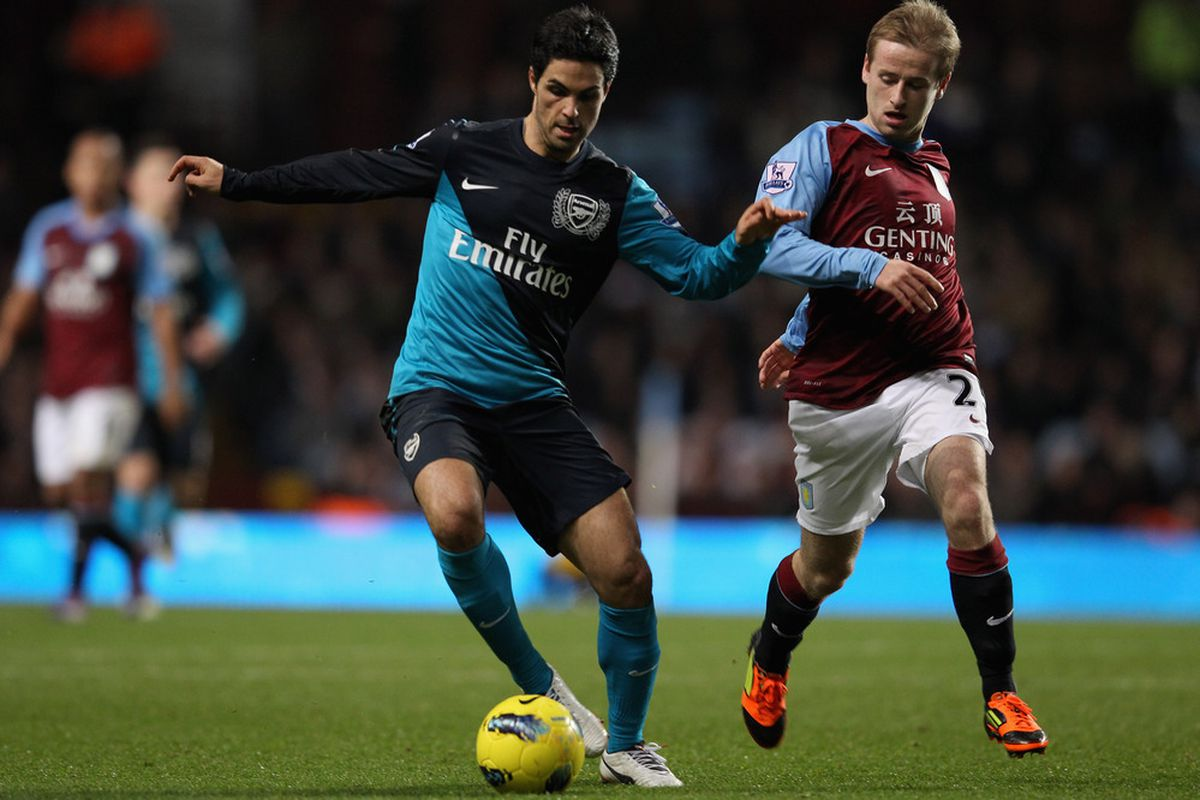 BIRMINGHAM, ENGLAND - DECEMBER 21:  Mikel Arteta of Arsenal in action during the Barclays Premier League match between Aston Villa and Arsenal at Villa Park on December 21, 2011 in Birmingham, England.  (Photo by Clive Mason/Getty Images)