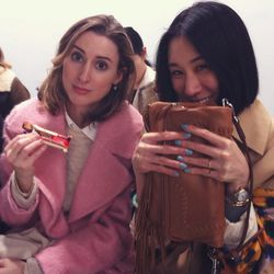 Sat next to Eva Chen and Alexis Bryan Morgan from<i>Lucky</i>at the <b>Acne</b> show. <b>Eva's always got the best nails</b>, and her blue manicure here is no exception. And Alexis has the prettiest skin—I don't think I've seen the woman with a anything
