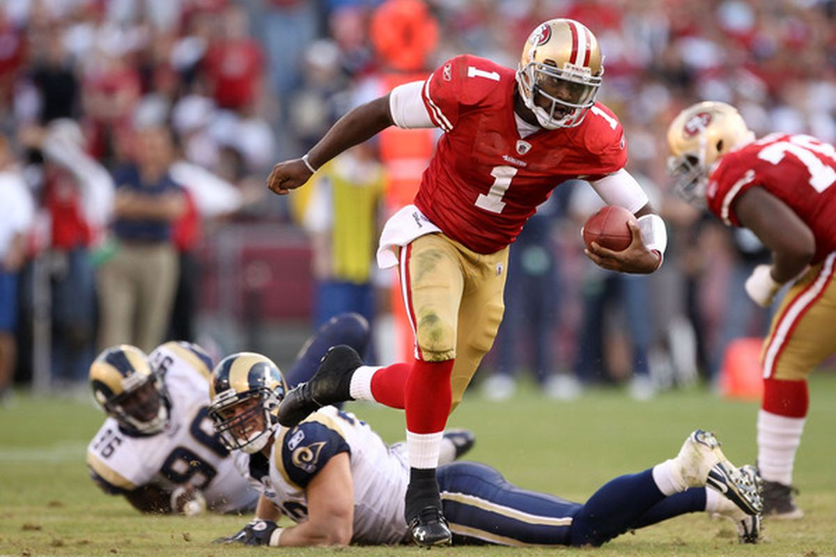 Troy Smith #49 of the San Francisco 49ers runs with the ball during their game against the St. Louis Rams at Candlestick Park on November 14 2010 in San Francisco California.  (Photo by Ezra Shaw/Getty Images)