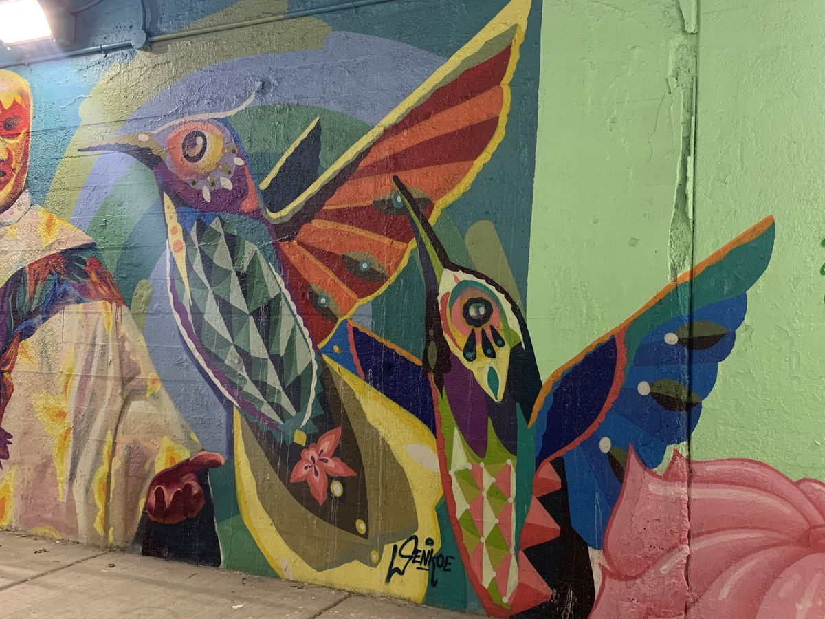 """Mexican artist Senkoe says the hummingbirds """"represent the movement for many of the cultures in Mexico — for the Aztecs, it is a messenger god."""""""