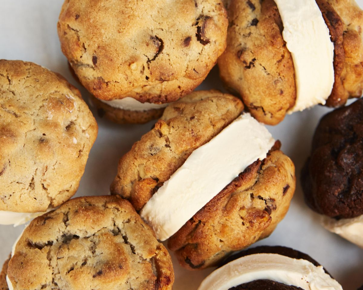 A bunch of huge ice cream sandwiches made with Levain cookies