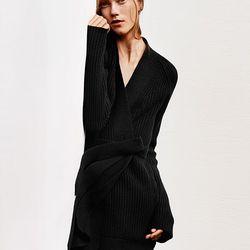 Lambswool long cardigan, $59.90; rayon wide leg pants, $49.90
