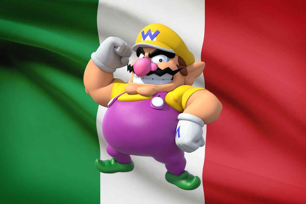 Wario on an Italian flag