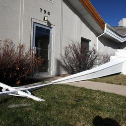 The steeple was blown from the roof of the Westminster Presbyterian Church in Fruit Heights, Thursday, Dec. 1, 2011.