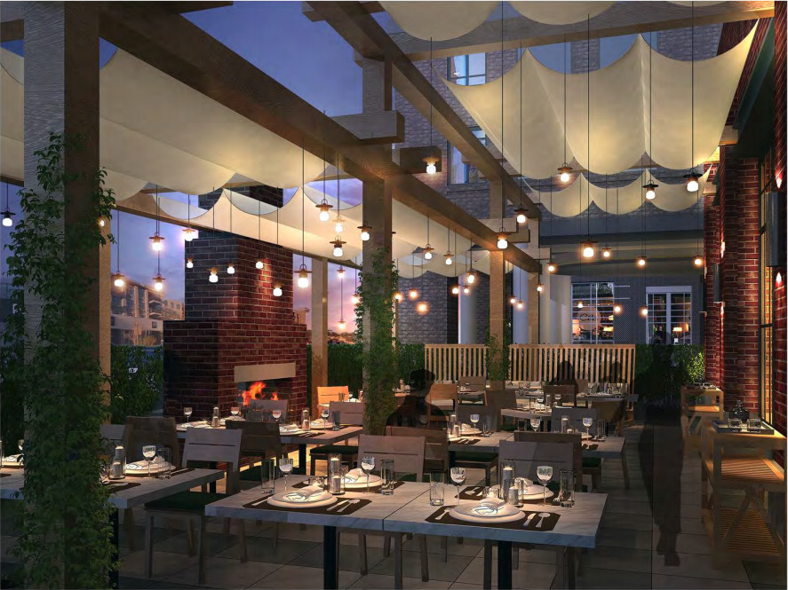 A rendering of South City Kitchen Alpharetta's patio dining.