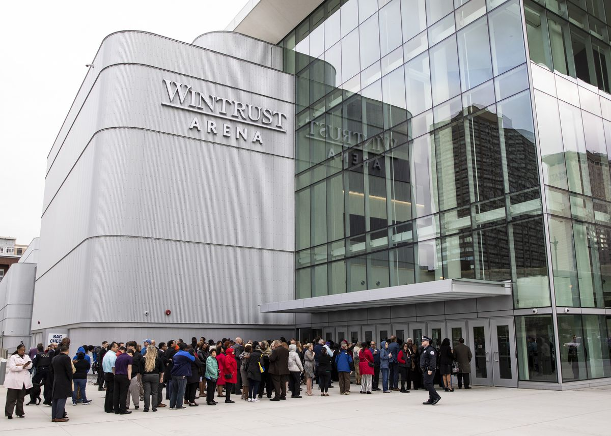 Line outside Wintrust Arena for Lori Lightfoot's inauguration.