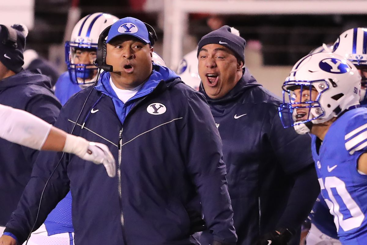 BYU football coach Kalani Sitake reacts from the sidelines as BYU and Utah play at Rice-Eccles Stadium in Salt Lake City on Saturday, Nov. 24, 2018.