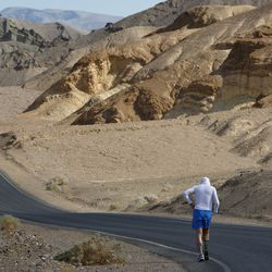 Double amputee Chris Moon of Great Britain runs in the AdventurCORPS Badwater 135