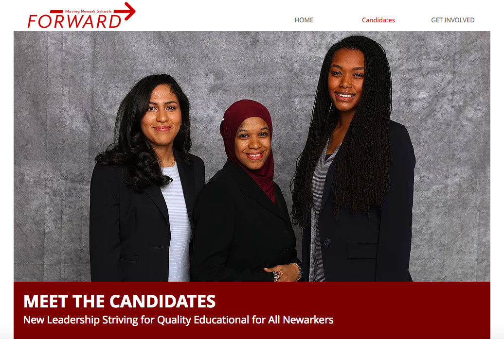 """A screenshot of the """"Moving Newark Schools Forward"""" slate's website with the three winning candidates: Yambeli Gomez, Dawn Haynes, and Asia Norton."""