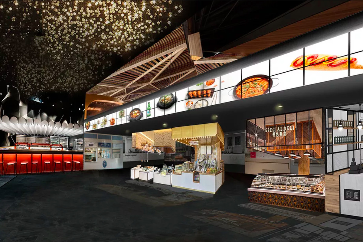 A rendering of a food hall with overhead lighting and illuminated signage