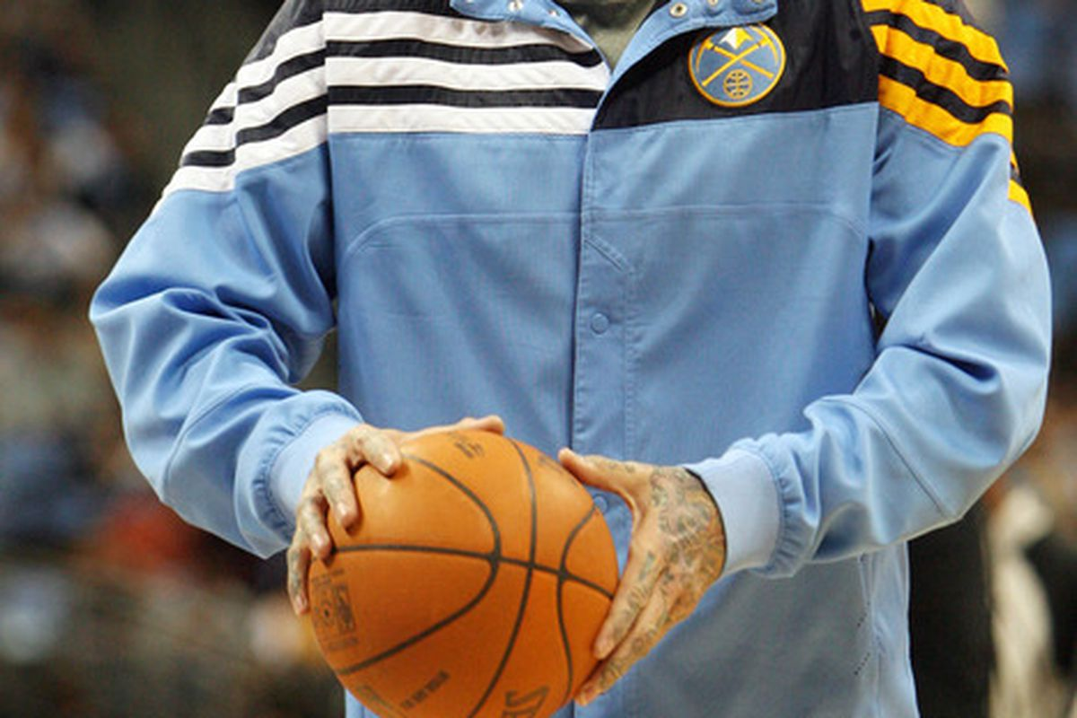 May 4, 2012; Denver, CO, USA;  Denver Nuggets forward Chris Andersen warms up before game three in the Western Conference quarterfinals of the 2012 NBA Playoffs at the Pepsi Center.  Mandatory Credit: Chris Humphreys-US PRESSWIRE