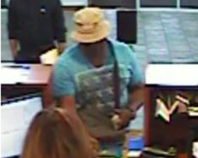 Surveillance image of the suspect in a bank robbery May 31, 2019, at the BMO Harris Bank at 4940 W. 211th St. in Matteson.