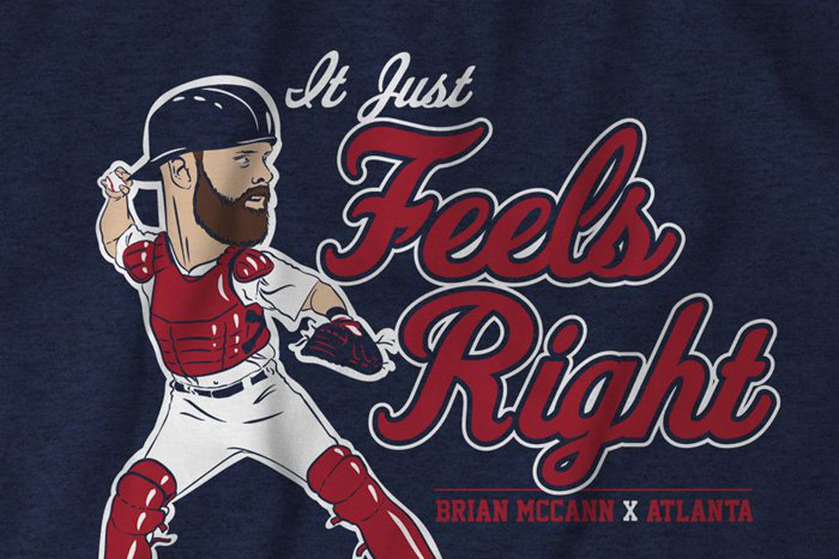 "buy online 664b5 c7ee2 Get your Brian McCann ""Feels Right"" T-Shirt from Breaking T ..."