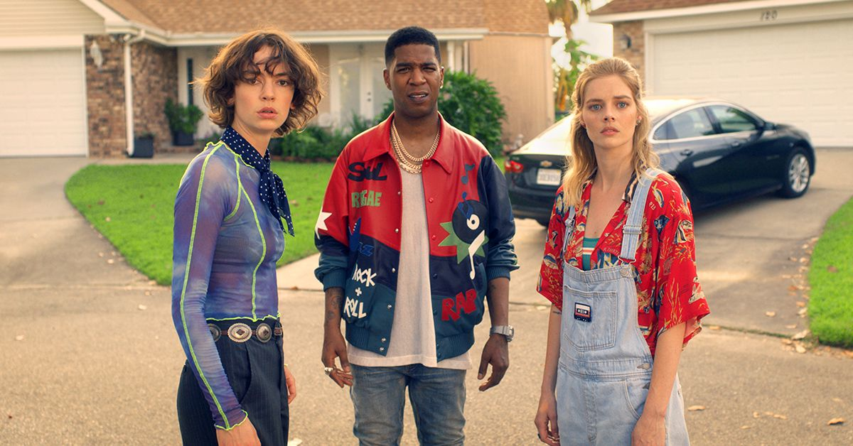 Brigette Lundy-Paine, Kid Cudi and Samara Weaving in Bill & Ted Face the Music