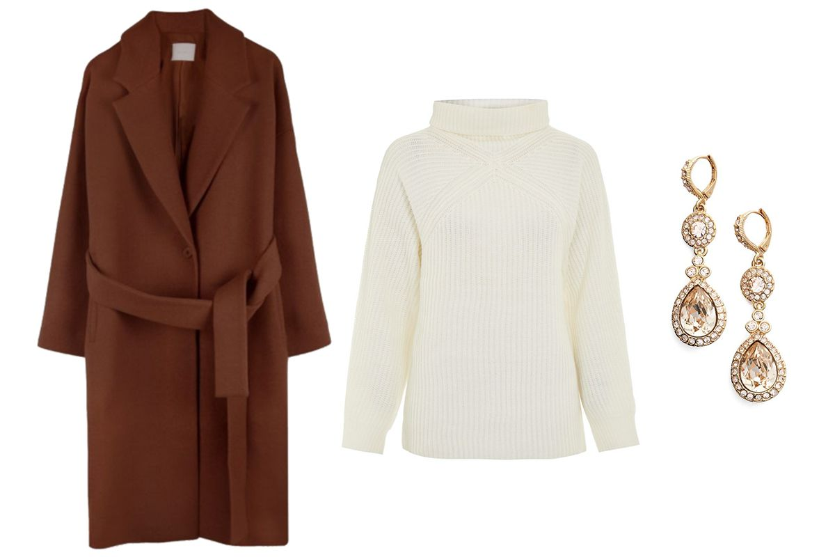 Oak + Fort Coat, $223.20. Topshop Roll Neck Ribbed Sweater, $75. Givenchy Wingate Drop Earrings, $48.