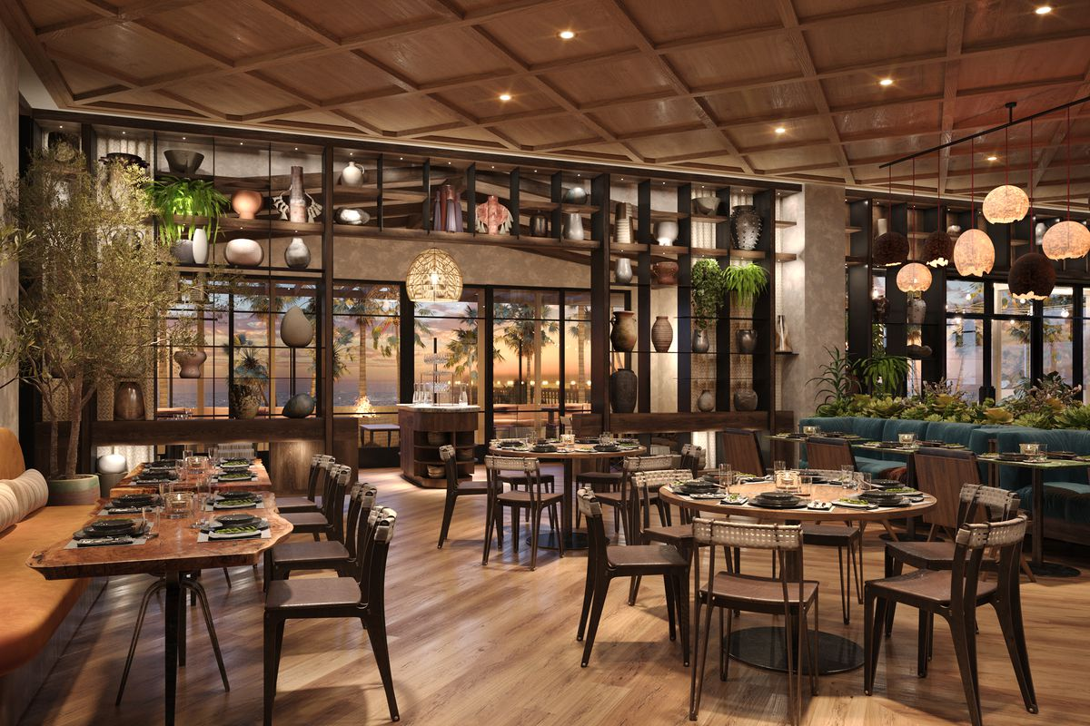 Rendering of the dining room at Valle at Mission Pacific
