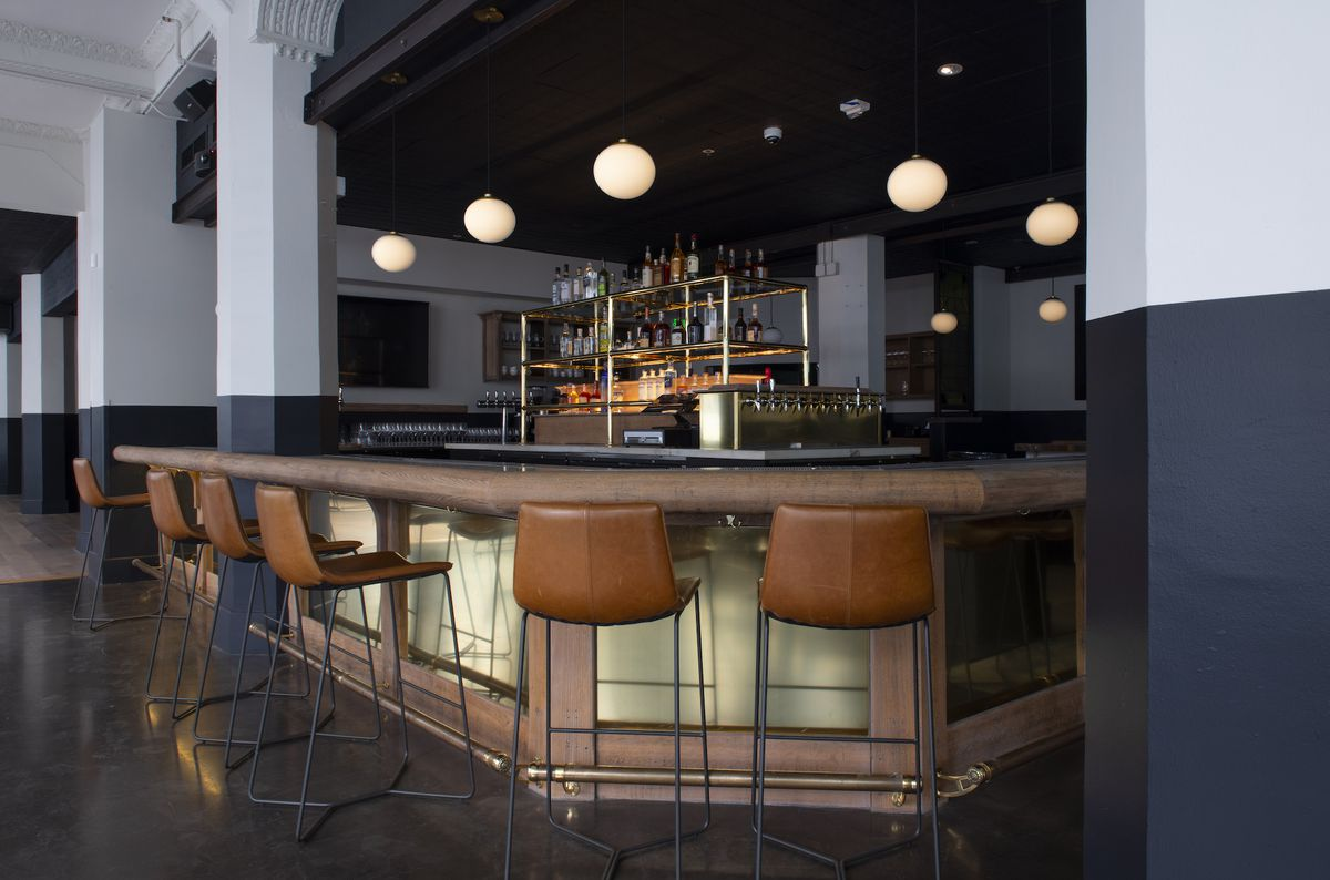 The bar at Tribune restaurant, openings soon in Oakland