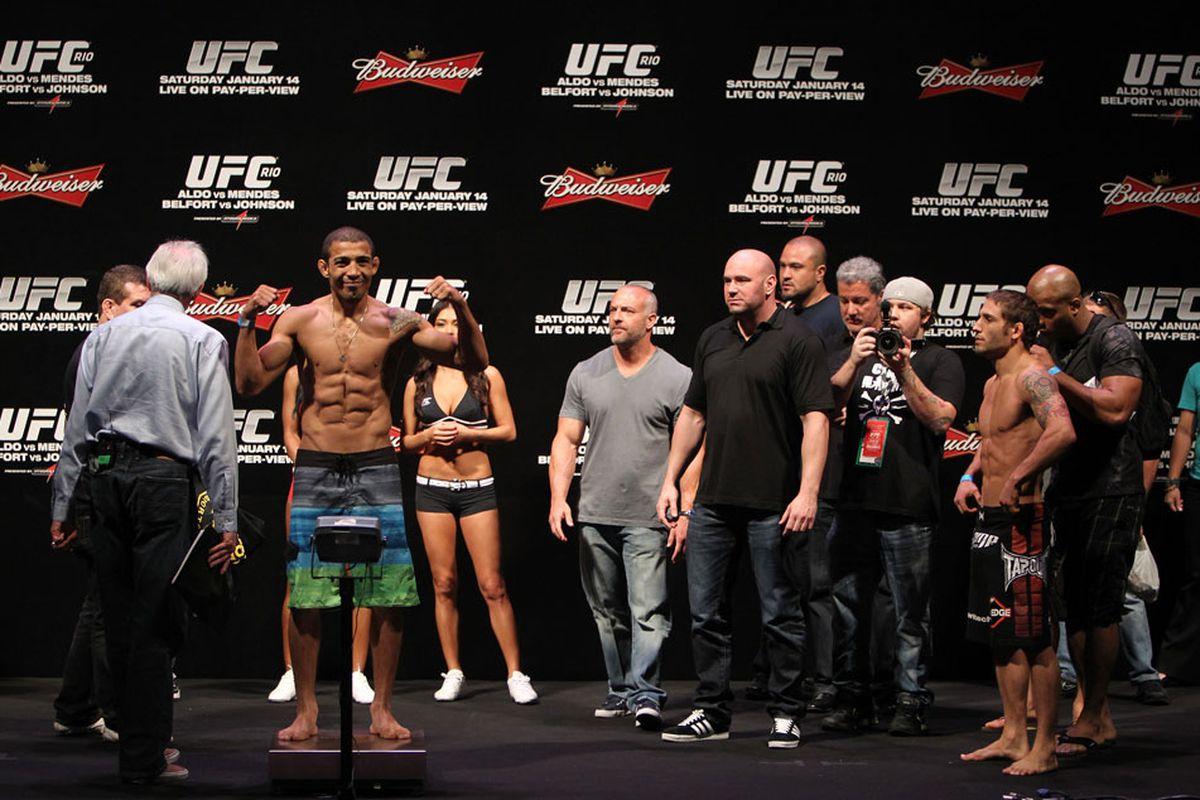RIO DE JANEIRO, BRAZIL - JANUARY 13: UFC Featherweight Champion Jose Aldo weighs in during the UFC 142 Weigh In at HSBC Arena on January 13, 2012 in Rio de Janeiro, Brazil. (Photo by Josh Hedges/Zuffa LLC/Zuffa LLC via Getty Images)