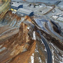 A slide at Kennecott Utah Copper's Bingham Canyon Mine which occurred Wednesday, April 10, is shown Thursday, April 11, 2013.