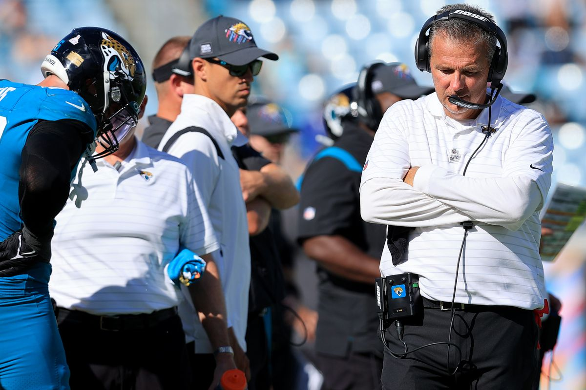 Head coach Urban Meyer of the Jacksonville Jaguars reacts against the Tennessee Titans during the fourth quarter at TIAA Bank Field on October 10, 2021 in Jacksonville, Florida.
