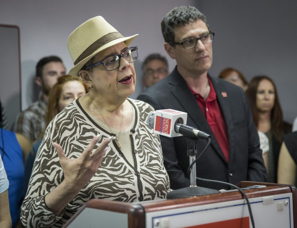 Chicago Teachers Union President Karen Lewis, with Vice President Jesse Sharkey, reacts to the Chicago Public Schools budget on Monday, Aug. 8, 2016. | Rich Hein/Sun-Times