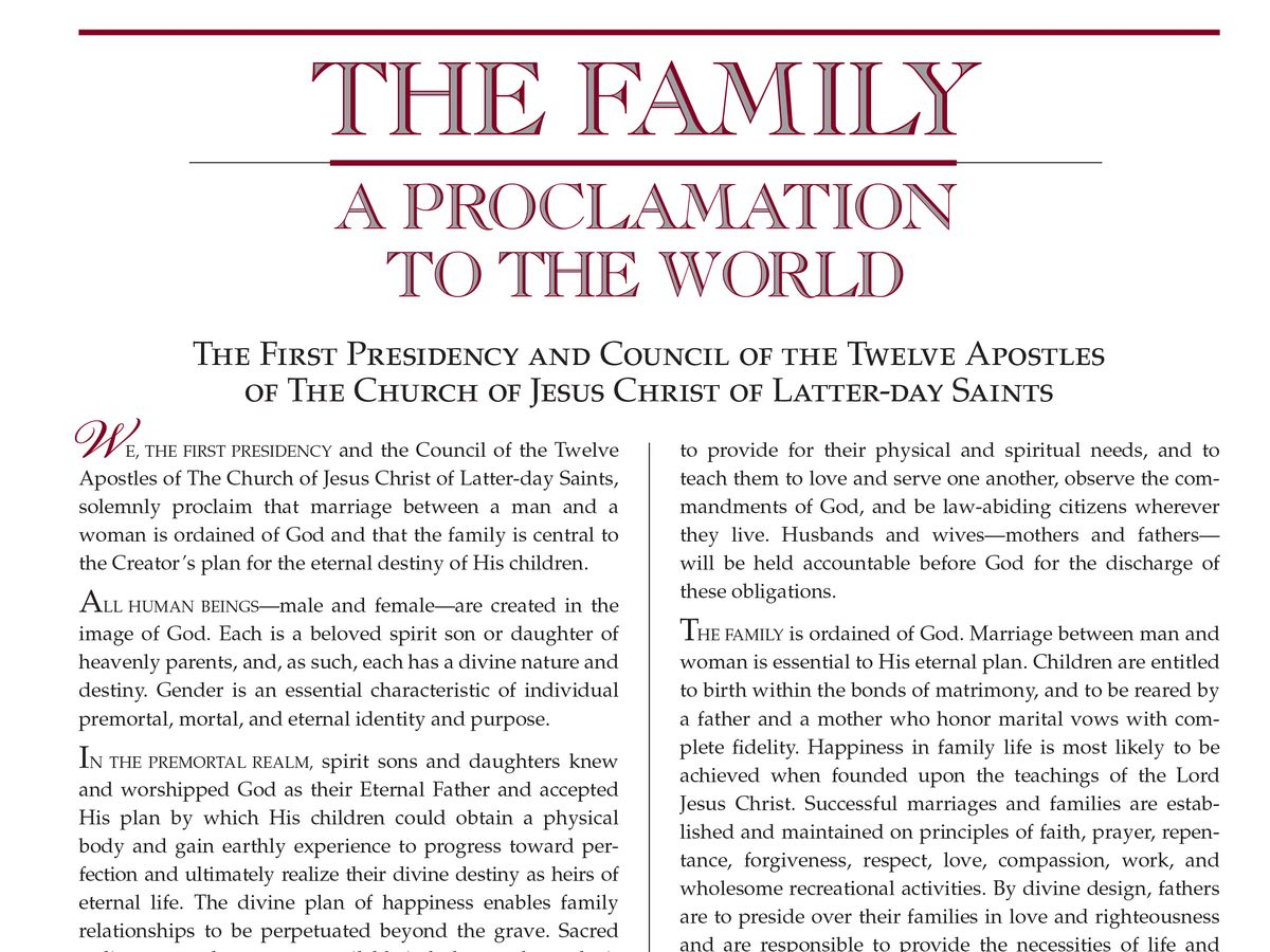 20100524 The proclamation on the family.