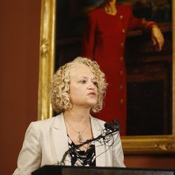 Salt Lake Mayor Jackie Biskupski briefs media in Salt Lake City on Wednesday, Sept. 13, 2017, about the Internal Affairs and Police Civilian Review Board investigations regarding the actions of two Salt Lake City Police Department officers from the Alex Wubbels arrest at the University of Utah Medical Center.