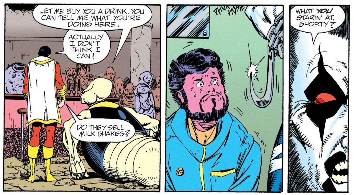 Shazam (then still called Captain Marvel) meets Lobo in LEGION '91 # 31, DC Comics (1991).