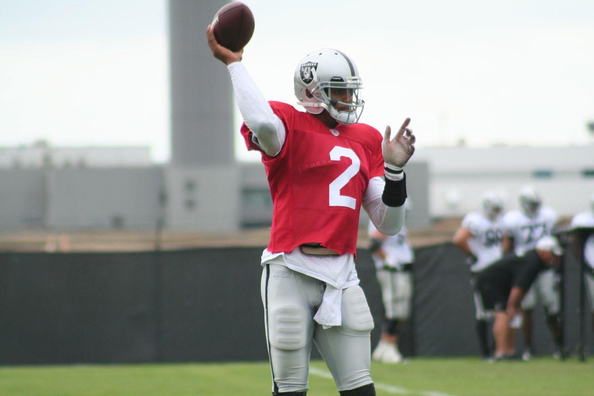 Oakland Raiders quarterback Terrelle Pryor at practice
