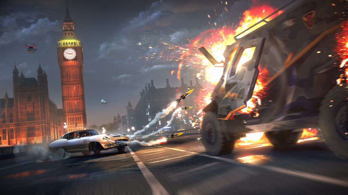 A spy car fires missiles in front of Beg Ben in Watch Dogs: Legion