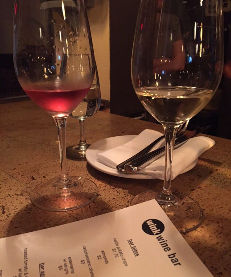 Glasses of wine at Wink