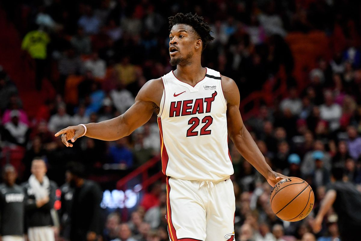 Miami Heat forward Jimmy Butler controls the ball against the Washington Wizards during the second half at American Airlines Arena.