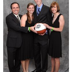 The Haywards are all smiles as they're introduced to Utah after Gordon Hayward was drafted No. 9 overall in 2010 by the Jazz. From left, Gordon Scott (dad), Heather (twin sister), Gordon Daniel (son/Jazz player), Jody (mom).