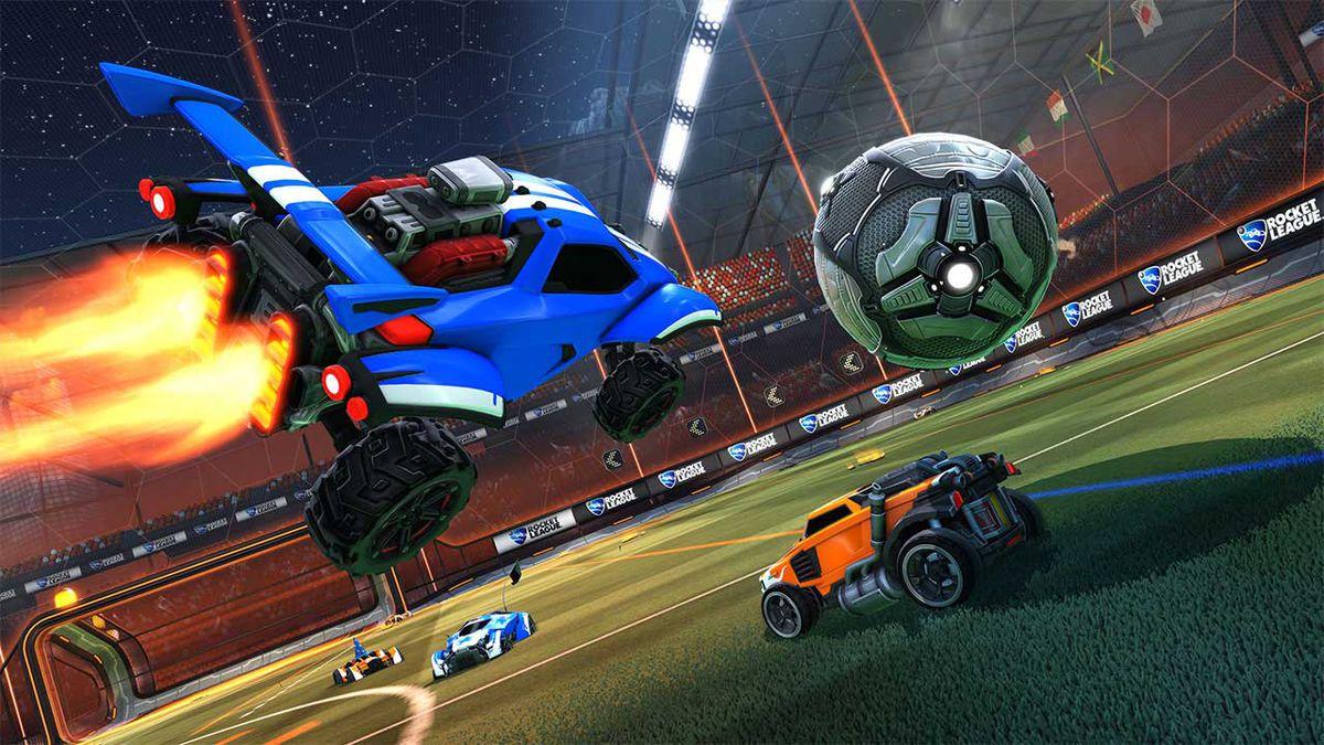 Rocket League - a blue car flying toward the ball in midair