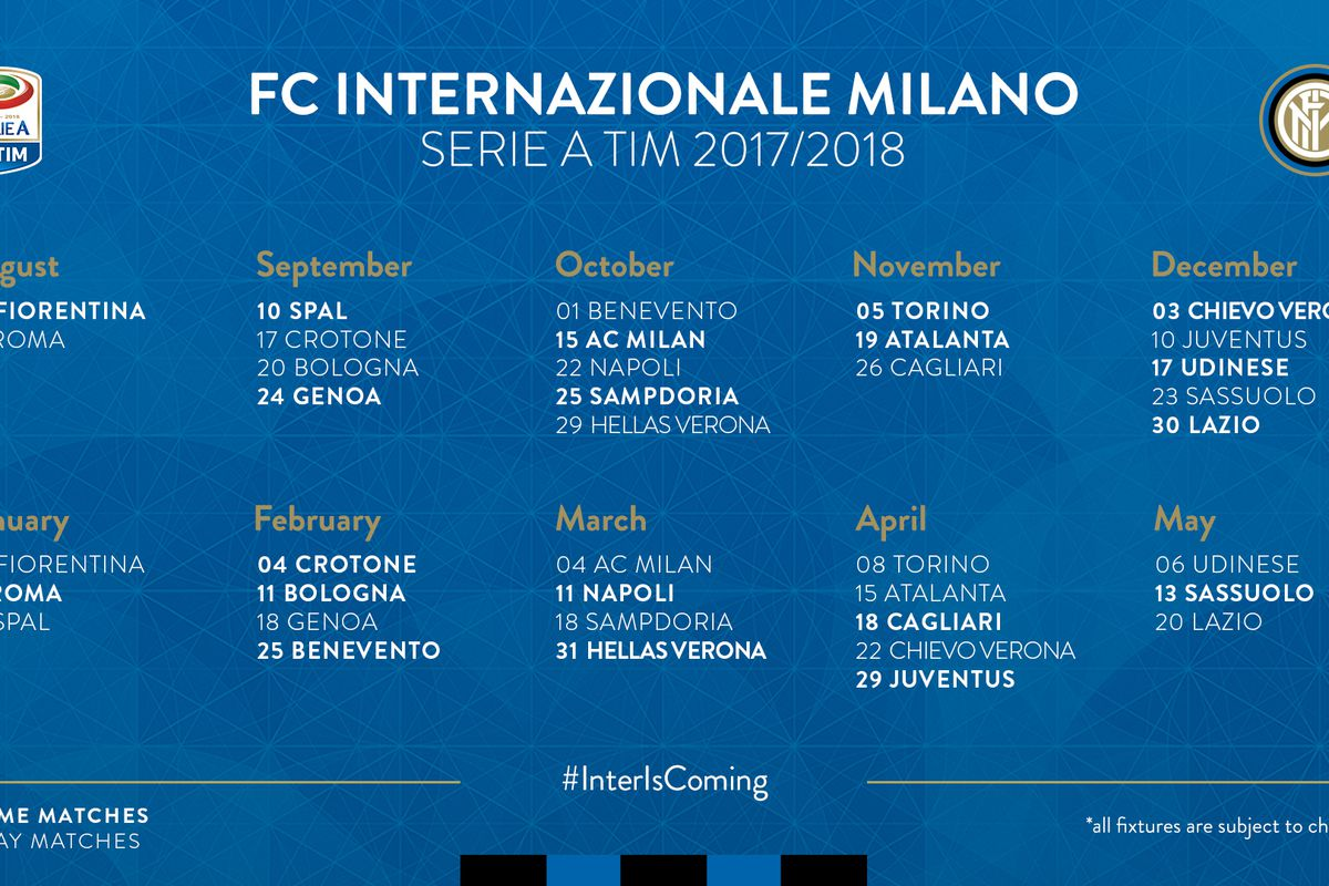 Interit Calendario.Inter Milan Will Be Home To Fiorentina To Start The 17 18