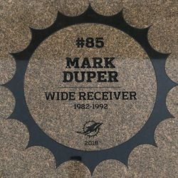 Mark Duper granite stone in the Miami Dolphins Walk of Fame after being unveiled on December 2, 2018 in a ceremony in the Joe Robbie Alumni Plaza at Hard Rock Stadium, Miami Gardens, Florida.