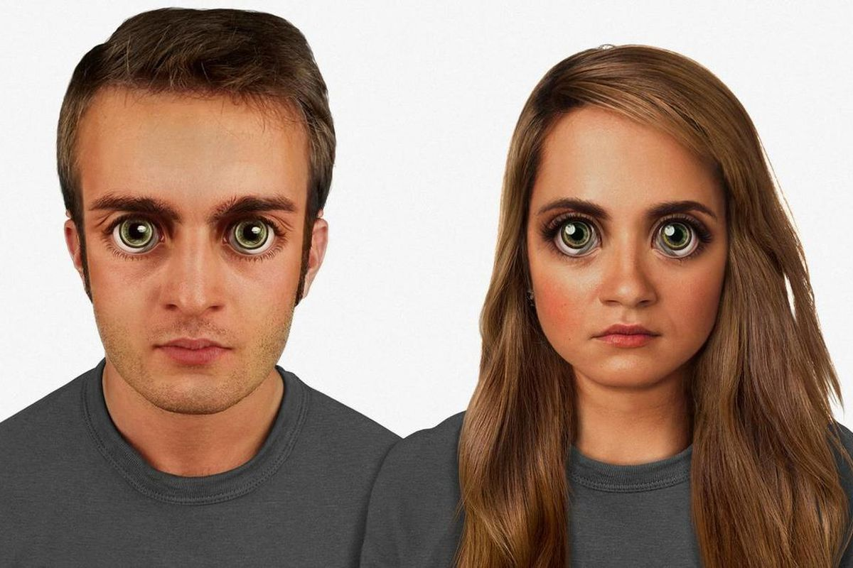 """Designer Lamm's depiction of how the human face might look in 100,000 years. The human face is proportioned to the 'golden ratio,' though it features unnervingly large eyes. There is green """"eye shine"""" from the tapetum lucidum, and a more pronounced superc"""